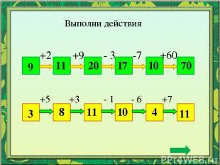 Выполни действия 9 70 +2 +9 - 3 -7 +60 11 20 17 10 3 11 +5 +3 - 1 - 6 +7 8 11 10