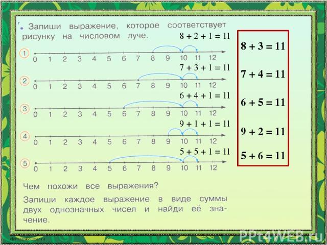 8 + 2 + 1 = 11 7 + 3 + 1 = 11 6 + 4 + 1 = 11 9 + 1 + 1 = 11 5 + 5 + 1 = 11 8 + 3 = 11 7 + 4 = 11 6 + 5 = 11 9 + 2 = 11 5 + 6 = 11