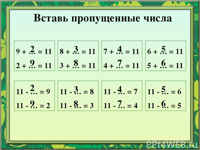 Вставь пропущенные числа 9 + … = 11 2 + … = 11 8 + … = 11 3 + … = 11 7 + … = 11 4 + … = 11 6 + … = 11 5 + … = 11 11 - … = 9 11 - … = 2 11 - … = 8 11 - … = 3 11 - … = 7 11 - … = 4 11 - … = 6 11 - … = 5 2 9 2 9 3 8 3 8 4 7 4 7 5 6 5 6