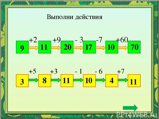Выполни действия 9 70 +2 +9 - 3 -7 +60 11 20 17 10 3 11 +5 +3 - 1 - 6 +7 8 11 10 4
