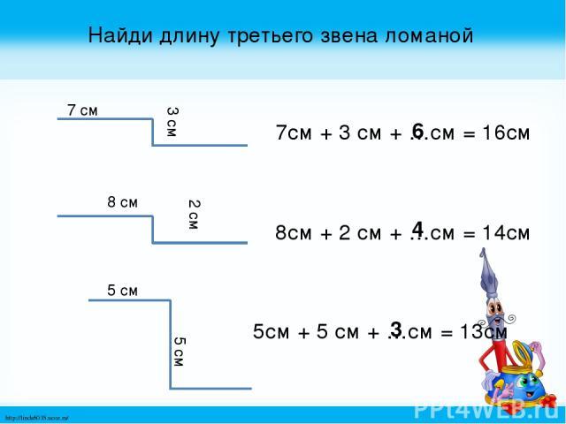 Найди длину третьего звена ломаной 7 см 3 см 8 см 2 см 5 см 5 см 7см + 3 см + …см = 16см 8см + 2 см + …см = 14см 5см + 5 см + …см = 13см 6 4 3 http://linda6035.ucoz.ru/