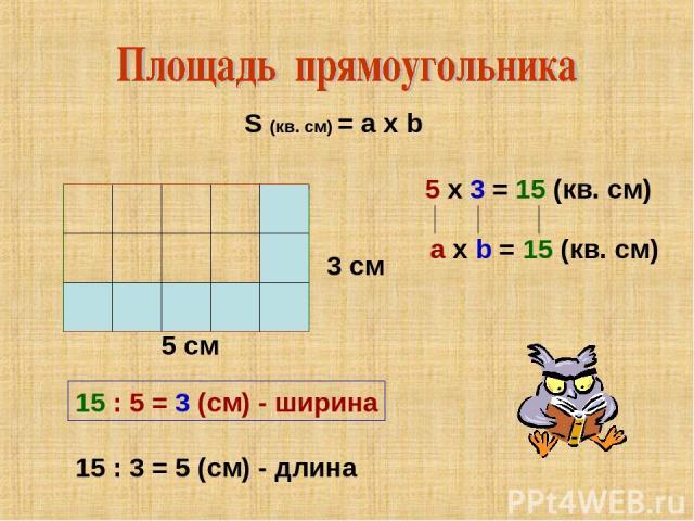5 см 5 х 3 = 15 (кв. см) 3 см S (кв. см) = a x b 15 : 5 = 3 (см) - ширина 15 : 3 = 5 (см) - длина a х b = 15 (кв. см)