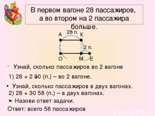 В первом вагоне 28 пассажиров, а во втором на 2 пассажира больше. Узнай, сколько