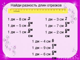 Найди разность длин отрезков 1 дм – 8 см = 1 дм – 5 см = 1 дм – 1 см = 1 дм – 3