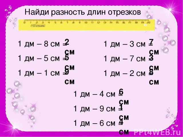 Найди разность длин отрезков 1 дм – 8 см = 1 дм – 5 см = 1 дм – 1 см = 1 дм – 3 см = 1 дм – 7 см = 1 дм – 2 см = 2 см 5 см 9 см 7 см 3 см 8 см 1 дм – 4 см = 1 дм – 9 см = 1 дм – 6 см = 6 см 1 см 4 см