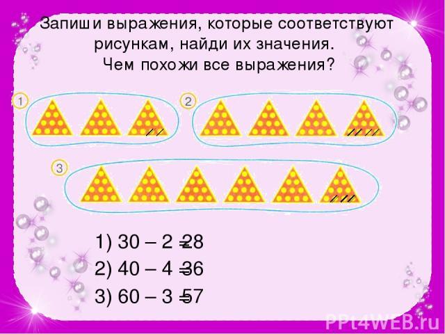 Запиши выражения, которые соответствуют рисункам, найди их значения. Чем похожи все выражения? 1) 30 – 2 = 28 2) 40 – 4 = 36 3) 60 – 3 = 57 №84 стр.24