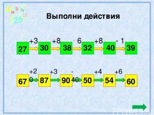Выполни действия 27 39 +3 +8 6 +8 - 1 30 38 32 40 67 60 +20 +3 - 40 +4 +6 87 90