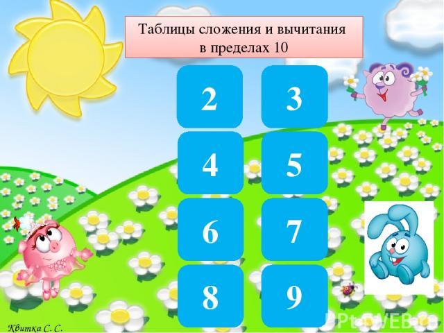 7 3+4 6 10-4 8 4+4 0 4-4 2 6-4 9 5+4 Квитка С. С.