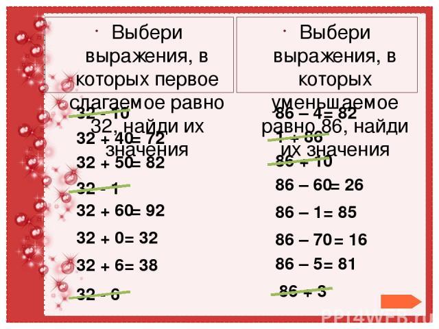 Выбери выражения, в которых первое слагаемое равно 32, найди их значения 32 - 10 Выбери выражения, в которых уменьшаемое равно 86, найди их значения 32 + 40 = 72 32 + 50 = 82 32 - 1 32 + 60 = 92 32 + 0 = 32 32 + 6 = 38 32 - 6 86 – 4 = 82 86 – 5 = 81…