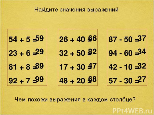 Найдите значения выражений 54 + 5 = 23 + 6 = 81 + 8 = 92 + 7 = 59 29 89 99 26 + 40 = 32 + 50 = 17 + 30 = 48 + 20 = 66 82 47 68 87 - 50 = 94 - 60 = 42 - 10 = 57 - 30 = 37 34 32 27 Чем похожи выражения в каждом столбце? №52 стр.15