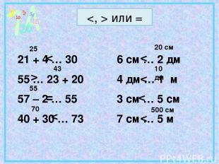 или = 21 + 4 … 30 55 … 23 + 20 57 – 2 … 55 40 + 30 … 73 6 см … 2 дм 4 дм … 1 м 3