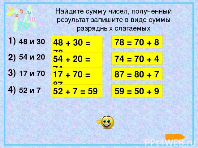 Найдите сумму чисел, полученный результат запишите в виде суммы разрядных слагаемых 1) 2) 3) 4) 48 и 30 54 и 20 17 и 70 52 и 7 78 = 70 + 8 48 + 30 = 78 54 + 20 = 74 74 = 70 + 4 17 + 70 = 87 87 = 80 + 7 52 + 7 = 59 59 = 50 + 9 Для появления разности …