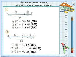 Назови на схеме отрезок, который соответствует выражению. = 31 (МК) = 56 (АМ) =