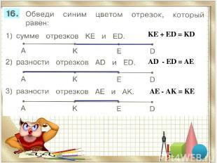 KЕ + ЕD = KD AD - ЕD = AE AЕ - AK = KE