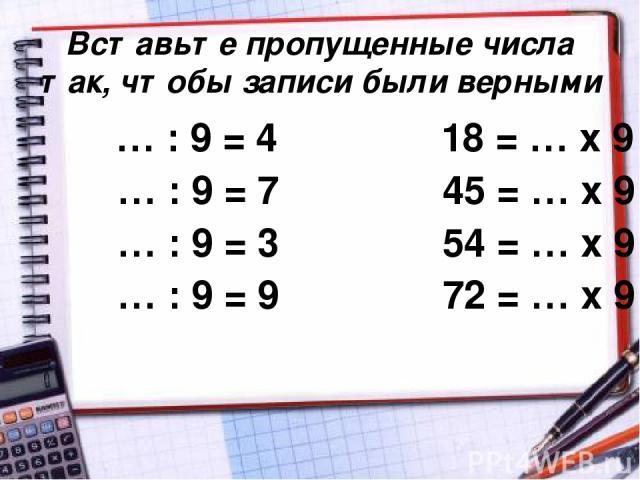Вставьте пропущенные числа так, чтобы записи были верными … : 9 = 4 18 = … х 9 … : 9 = 7 45 = … х 9 … : 9 = 3 54 = … х 9 … : 9 = 9 72 = … х 9