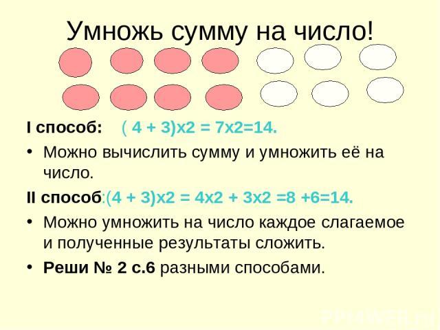 Умножь сумму на число! I способ: ( 4 + 3)х2 = 7х2=14. Можно вычислить сумму и умножить её на число. II способ:(4 + 3)х2 = 4х2 + 3х2 =8 +6=14. Можно умножить на число каждое слагаемое и полученные результаты сложить. Реши № 2 с.6 разными способами.