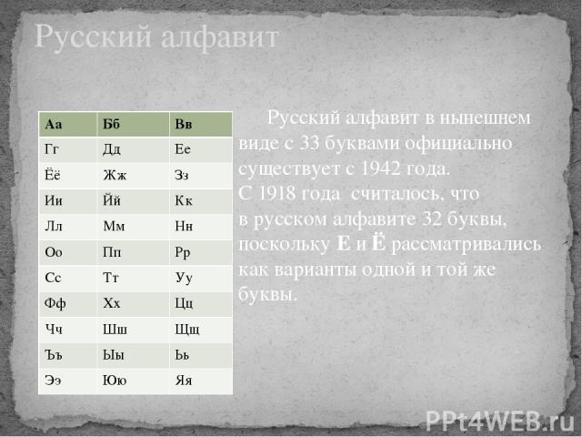 Русский алфавит в нынешнем виде с 33 буквами официально существует с 1942 года. С 1918 года считалось, что в русском алфавите 32 буквы, поскольку Е и Ё рассматривались как варианты одной и той же буквы. Русский алфавит Аа Бб Вв Гг Дд Ее Ёё Жж Зз Ии …