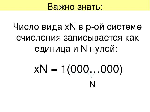 Важно знать: Число вида хN в p-ой системе счисления записывается как единица и N нулей: хN = 1(000…000) N