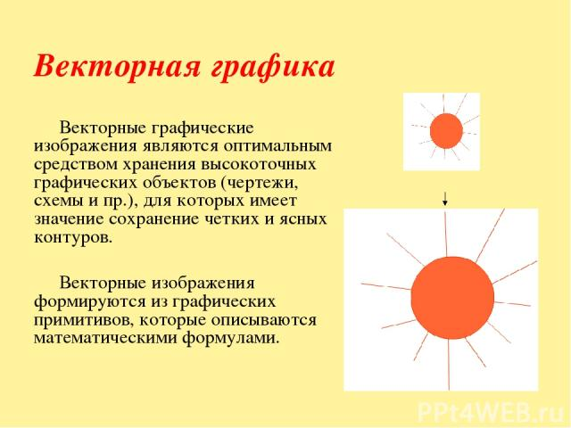 Векторная графика Векторные графические изображения являются оптимальным средством хранения высокоточных графических объектов (чертежи, схемы и пр.), для которых имеет значение сохранение четких и ясных контуров. Векторные изображения формируются из…