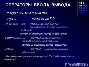 ОПЕРАТОРЫ ВВОДА, ВЫВОДА ОПЕРАТОРЫ ВЫВОДА QBasic Turbo Pascal 7.0 1. PRINT a1;a2;