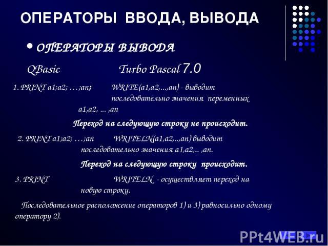 ОПЕРАТОРЫ ВВОДА, ВЫВОДА ОПЕРАТОРЫ ВЫВОДА QBasic Turbo Pascal 7.0 1. PRINT a1;a2; …;an; WRITE(а1,а2,...,аn) - выводит последовательно значения переменных а1,а2, ... ,аn Переход на следующую строку не происходит. 2. PRINT a1;a2; …;an WRITELN(а1,а2,..,…
