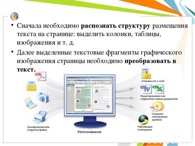 Сначала необходимо распознать структуру размещения текста на странице: выделить колонки, таблицы, изображения и т. д. Далее выделенные текстовые фрагменты графического изображения страницы необходимо преобразовать в текст.
