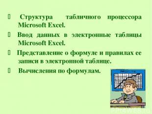 Структура табличного процессора Microsoft Excel. Ввод данных в электронные табли