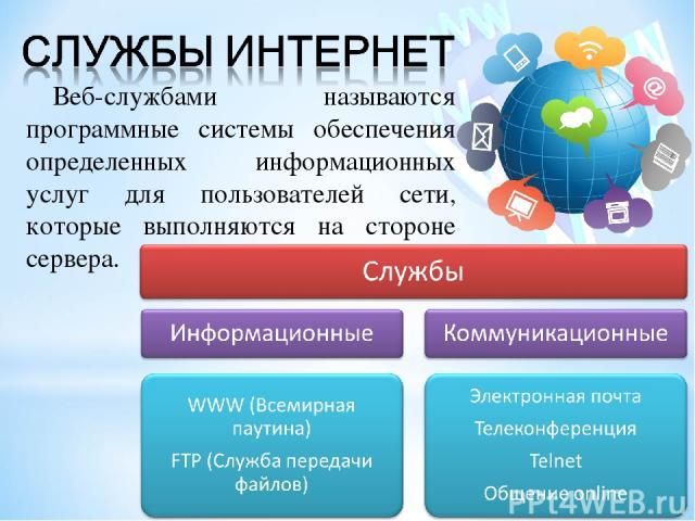 Веб-службами называются программные системы обеспечения определенных информационных услуг для пользователей сети, которые выполняются на стороне сервера.