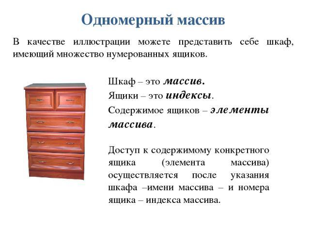 Одномерный массив В качестве иллюстрации можете представить себе шкаф, имеющий множество нумерованных ящиков. Шкаф – это массив. Ящики – это индексы. Содержимое ящиков – элементы массива. Доступ к содержимому конкретного ящика (элемента массива) осу…