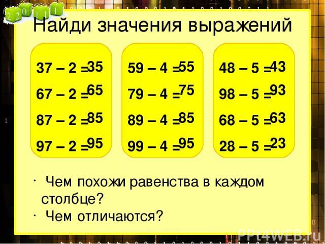 Найди значения выражений 37 – 2 = 67 – 2 = 87 – 2 = 97 – 2 = 35 65 85 95 59 – 4 = 79 – 4 = 89 – 4 = 99 – 4 = 55 75 85 95 48 – 5 = 98 – 5 = 68 – 5 = 28 – 5 = 43 93 63 23 Чем похожи равенства в каждом столбце? Чем отличаются?