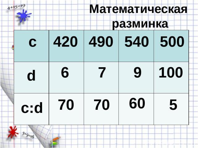 Математическая разминка c d c:d 420 6 70 490 540 500 7 9 100 70 60 5