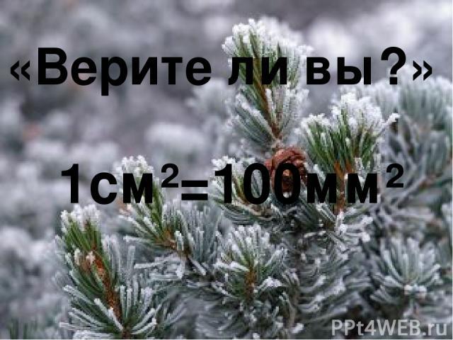 «Верите ли вы?» 1см²=100мм²