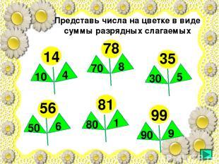 14 10 4 35 30 5 78 70 8 56 50 6 81 80 1 99 90 9 Представь числа на цветке в виде