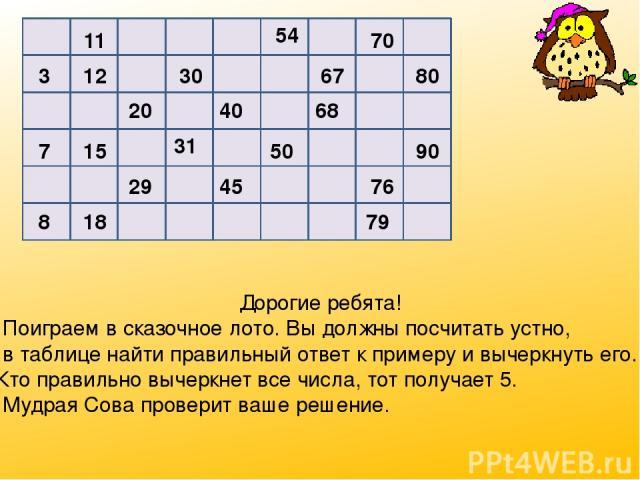 11 54 70 3 12 30 67 80 20 40 68 7 15 31 50 90 29 45 76 8 18 79 Дорогие ребята! Поиграем в сказочное лото. Вы должны посчитать устно, в таблице найти правильный ответ к примеру и вычеркнуть его. Кто правильно вычеркнет все числа, тот получает 5. Мудр…