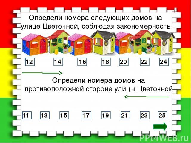 Определи номера следующих домов на улице Цветочной, соблюдая закономерность 12 14 16 18 20 22 24 Определи номера домов на противоположной стороне улицы Цветочной 25 23 21 19 17 15 13 11
