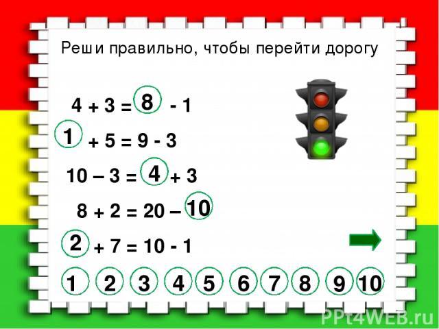 Реши правильно, чтобы перейти дорогу 4 + 3 = - 1 + 5 = 9 - 3 10 – 3 = + 3 8 + 2 = 20 – + 7 = 10 - 1 7 2 3 4 5 6 10 8 9 1 8 1 4 10 2