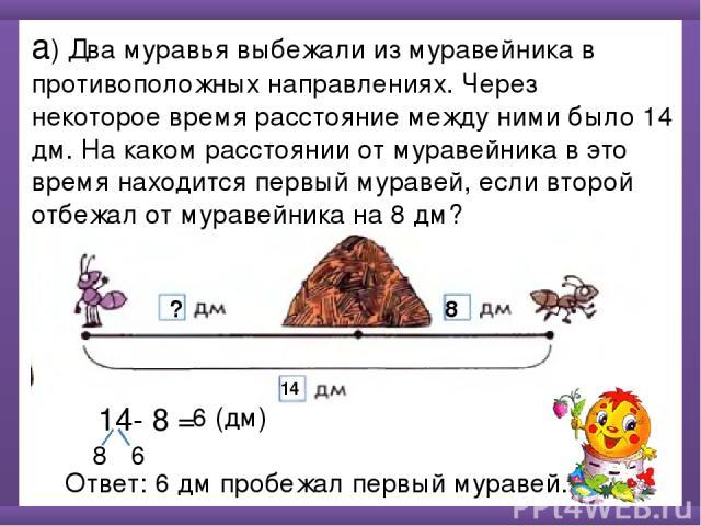 а) Два муравья выбежали из муравейника в противоположных направлениях. Через некоторое время расстояние между ними было 14 дм. На каком расстоянии от муравейника в это время находится первый муравей, если второй отбежал от муравейника на 8 дм? 14 8 …