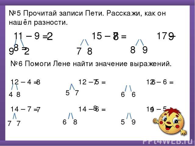 №5 Прочитай записи Пети. Расскажи, как он нашёл разности. 11 – 9 = 15 – 7 = 17 – 8 = 9 2 2 7 8 8 8 9 9 №6 Помоги Лене найти значение выражений. 12 – 4 = 12 – 5 = 12 – 6 = 14 – 7 = 14 – 6 = 14 – 5 = 4 8 8 5 7 6 6 7 6 7 7 7 6 8 8 5 9 9