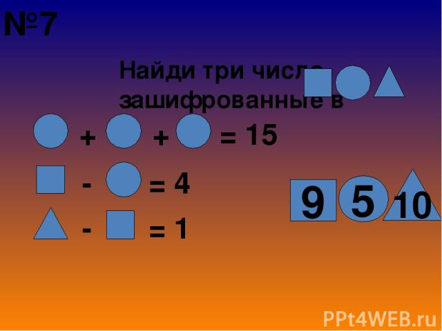 Найди три числа, зашифрованные в + + = 15 - = 4 - = 1 5 10 9 №7
