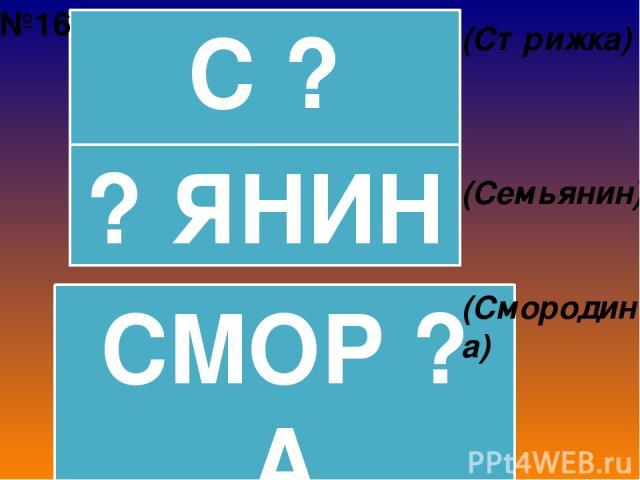 С ? ЖКА ? ЯНИН СМОР ? А (Стрижка) (Семьянин) (Смородина) №16