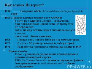 Как возник Интернет? 1958 Создание ARPA (Advanced Research Project Agency) в США