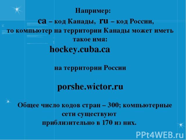 Например: ca – код Канады, ru – код России, то компьютер на территории Канады может иметь такое имя: hockey.cuba.ca на территории России porshe.wictor.ru Общее число кодов стран – 300; компьютерные сети существуют приблизительно в 170 из них.