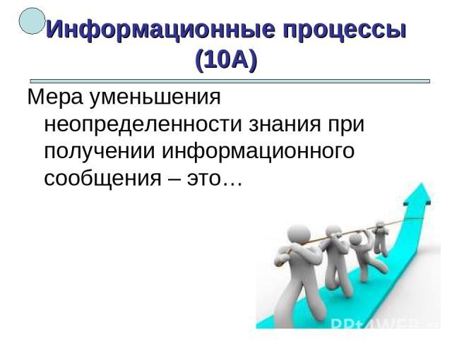 Информационные процессы (10А) Мера уменьшения неопределенности знания при получении информационного сообщения – это…