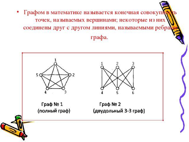 Графом в математике называется конечная совокупность точек, называемых вершинами; некоторые из них соединены друг с другом линиями, называемыми ребрами графа.