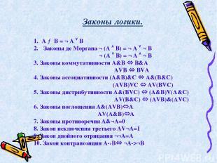 A → B = ¬ A B Законы де Моргана ¬ (A B) = ¬ A ¬ B ¬ (A B) = ¬ A ¬ B 3. Законы ко