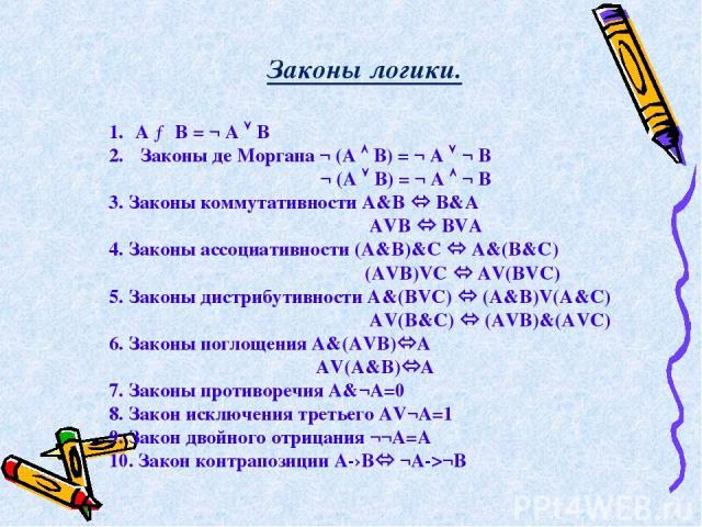 A → B = ¬ A B Законы де Моргана ¬ (A B) = ¬ A ¬ B ¬ (A B) = ¬ A ¬ B 3. Законы коммутативности А&B B&A AVB BVA 4. Законы ассоциативности (А&B)&C A&(B&C) (АVB)VC AV(BVC) 5. Законы дистрибутивности А&(BVC) (A&B)V(A&C) АV(B&C) (AVB)&(AVC) 6. Законы погл…