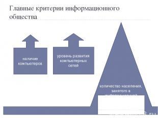 Главные критерии информационного общества наличие компьютеров уровень развития к
