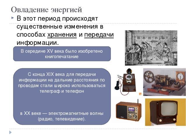 Овладение энергией В этот период происходят существенные изменения в способах хранения и передачи информации. В середине XV века было изобретено книгопечатание С конца XIX века для передачи информации на дальние расстояния по проводам стали широко и…