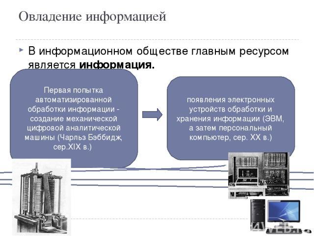 Овладение информацией В информационном обществе главным ресурсом является информация. начало перехода к ИНФОРМАЦИОННОМУ ОБЩЕСТВУ Первая попытка автоматизированной обработки информации - создание механической цифровой аналитической машины (Чарльз Бэб…