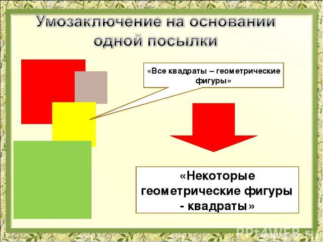 «Все квадраты – геометрические фигуры» «Некоторые геометрические фигуры - квадраты»